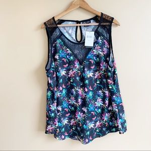 CITY CHIC sleeveless floral top black lace NWT 16W